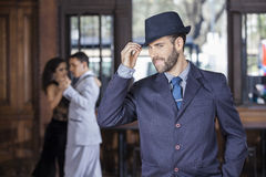 Portret tango tancerza mienia kapelusz W restauraci Obraz Royalty Free