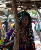 Portret tatuująca Mbororo Wodaabe plemienia aka kobieta Poli, Cameroon Zdjęcie Stock