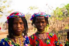 Portret tatuująca Mbororo Wodaabe plemienia aka kobieta Poli, Cameroon Obrazy Stock