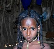Portret tatuująca Mbororo Wodaabe plemienia aka kobieta Poli, Cameroon Obraz Stock