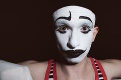 Portret teatralnie aktor z mima makeup zdjęcie royalty free
