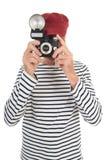 Portret teruggetrokken mens die beeld nemen Stock Foto