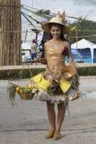 Portret Thaise vrouw tijdens Phangan-het Festival van de Kleurenmaan, Thailand royalty-vrije stock afbeeldingen