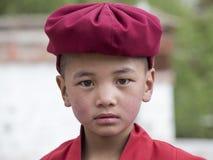Portret Tibetaanse Boeddhistische jonge monnik in Hemis-klooster, Ladakh, Noord-India Royalty-vrije Stock Afbeelding