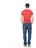 Portret trwanie w przypadkowym mężczyzna z powrotem Zdjęcie Stock