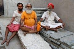 Portret trzy Sadhus w Jaipur Ashram Fotografia Stock