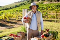 Portret trzyma świeżych warzywa przy kramem szczęśliwy mężczyzna Zdjęcia Royalty Free