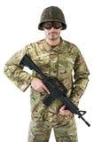 Portret trzyma karabin żołnierz Obraz Royalty Free