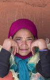 Portret Tybetańska Buddyjska młoda dziewczyna w Hemis monasterze, Ladakh, Północny India Fotografia Stock