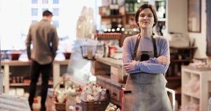 Portret Uśmiechnięty Żeński właściciel garmażeria sklep zbiory