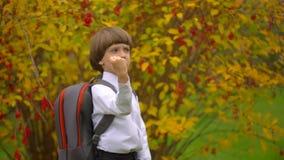 Portret uśmiechać się szczęśliwego ślicznego chłopiec ucznia śmia się kamera outdoors z plecakiem, stopnia uczeń ma zabawę zbiory