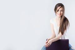 Portret uśmiechnięta brunetka obraz royalty free