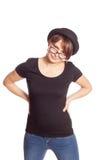Portret uśmiechnięta młoda kobieta w czarnej koszulce Obraz Royalty Free