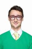 Portret uśmiechnięty dziwny młody człowiek Obrazy Stock