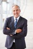 Portret uśmiechnięty starszy korporacyjny biznesmen, stoi fotografia stock