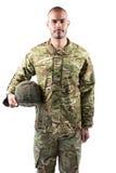Portret ufna żołnierz pozycja z hełmem Obraz Royalty Free