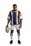 Portret ufna rugby gracza mienia piłka zdjęcie stock