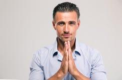 Portret ufny biznesmena modlenie Obraz Royalty Free