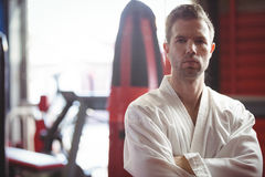 Portret ufny karate gracz zdjęcie stock