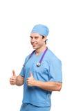 Portret ufny młody lekarz medycyny, męska pielęgniarka na białym tle/ Obrazy Royalty Free