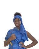 Portret urocza dziewczyna jest ubranym błękitnego chustka na głowę, odizolowywający Fotografia Stock