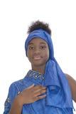Portret urocza dziewczyna jest ubranym błękitnego chustka na głowę, odizolowywający Zdjęcie Royalty Free