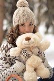 Portret urocza dziewczyna z zabawką Zdjęcie Royalty Free