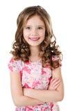 Portret urocza szczęśliwa mała dziewczynka odizolowywająca zdjęcia royalty free