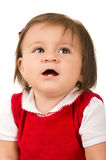 Portret uroczy brunetki dziewczynki być ubranym obrazy stock