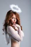 Portret uroczy miedzianowłosy anioł Fotografia Royalty Free