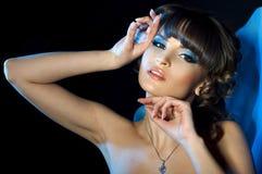 Portret van één mooie vrouw met make-up Royalty-vrije Stock Afbeeldingen
