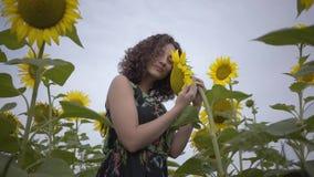 Portret van aanbiddelijk krullend meisje die grote zonnebloem op het zonnebloemgebied snuiven Verbinding met aard Het landelijke  stock videobeelden