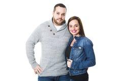 Portret van aantrekkelijk jong paar die glimlachen, stock afbeeldingen
