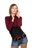 Portret van aantrekkelijk meisje in een zwart vest stock foto