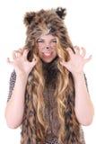 Portret van aantrekkelijk meisje in kattenkostuum over wit royalty-vrije stock afbeeldingen