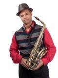Portret van aantrekkelijke jonge saxofonist Stock Afbeeldingen