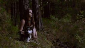 Portret van aantrekkelijke jonge vrouw en mooie hond in het hout die ergens met rente en concentratie kijken stock videobeelden