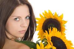 Portret van aantrekkelijke mooie jonge vrouw Stock Afbeelding