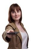 Portret van aantrekkelijke vrouwelijke het lenen hand Royalty-vrije Stock Afbeeldingen