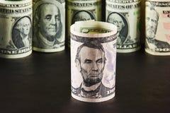 Portret van Abraham Lincoln op vijf dollarrekening Royalty-vrije Stock Afbeelding