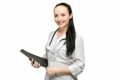 Portret van arts van witte achtergrond royalty-vrije stock foto