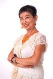 Portret van Aziatische hogere vrouw royalty-vrije stock fotografie