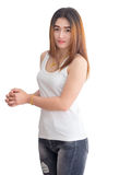 Portret van Aziatische vrouw in wit die vest, op witte achtergrond wordt geïsoleerd Stock Foto