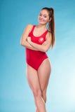 Portret van badmeester lifesaver vrouw Stock Fotografie