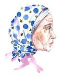 Portret van bejaarde in blauw stippenwit een headscarf Stock Foto