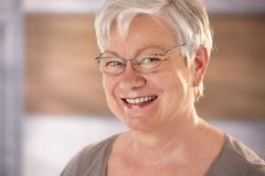 Portret van bejaarde met wit haar Stock Afbeeldingen