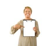 Portret van bejaarde op het wit Stock Foto