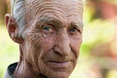 Portret van bejaardeclose-up Royalty-vrije Stock Foto's