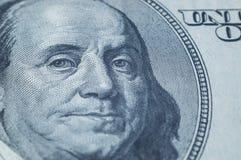 Portret van Benjamin Franklin van 100 dollarsrekening royalty-vrije stock foto's