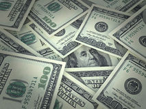Portret van Benjamin Franklin op de honderd ontworpen dollarsrekening Royalty-vrije Stock Afbeelding